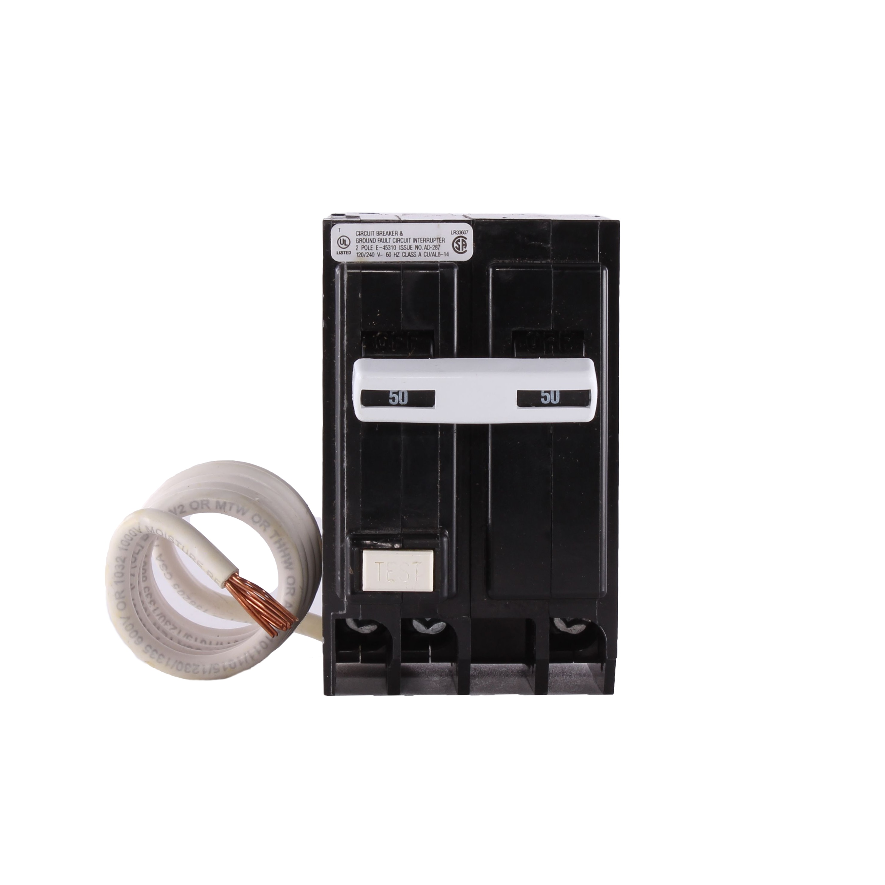 GE Industrial Solutions THQL2150GFT 2-Pole 50 Amp 120/240 Volt 10 Kaic 1 Inch Plug-In Molded Case Circuit Breaker
