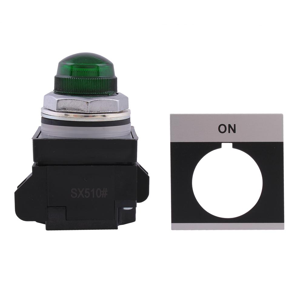 GE Industrial Solutions CR104PLG22GA1 120 Volt Supply 130 Volt Incandescent Lamp Full Voltage Green Standard Pilot Light