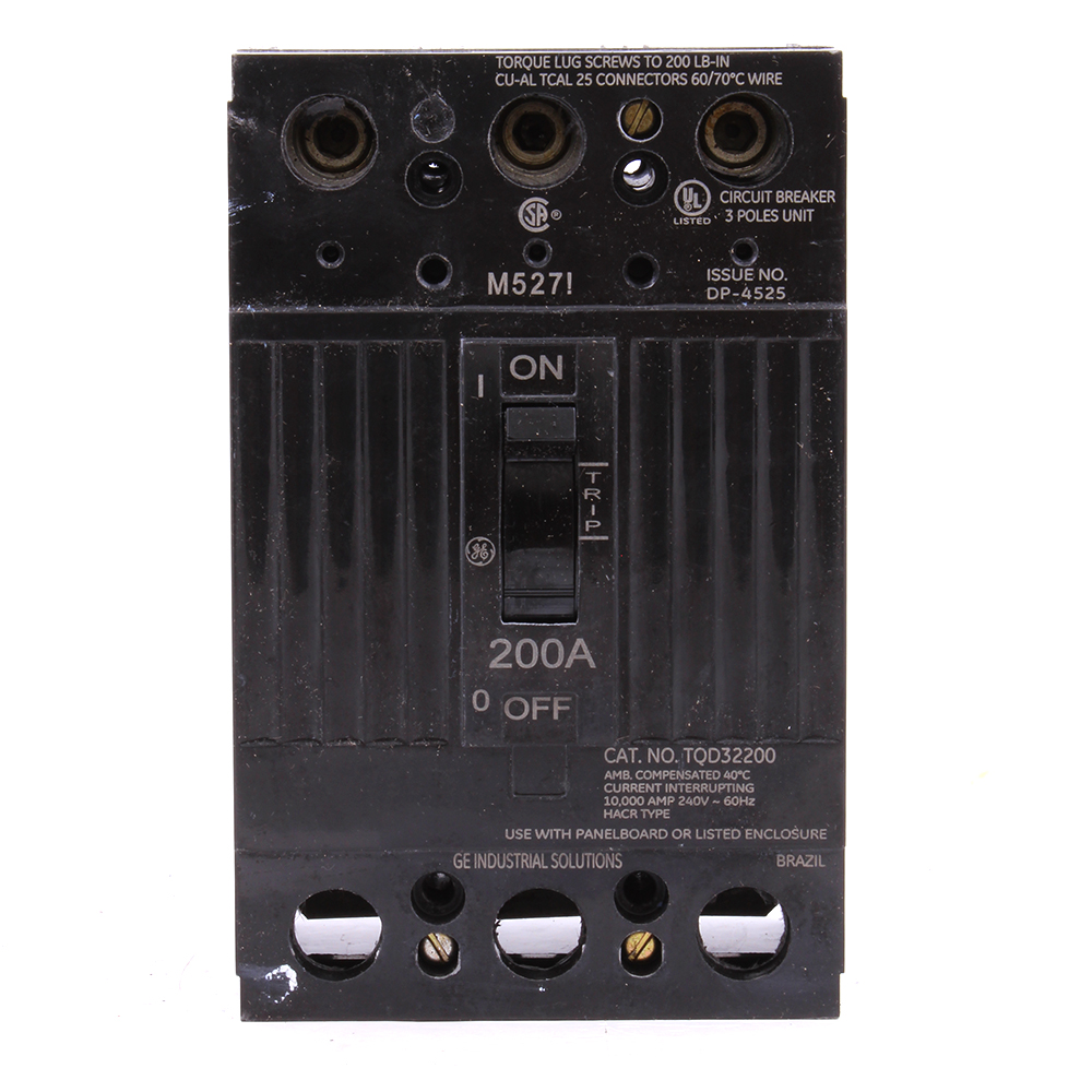 GE Industrial Solutions TQD32200X2 3-Pole 240 Volt 200 Amp Circuit Breaker with Line Lugs